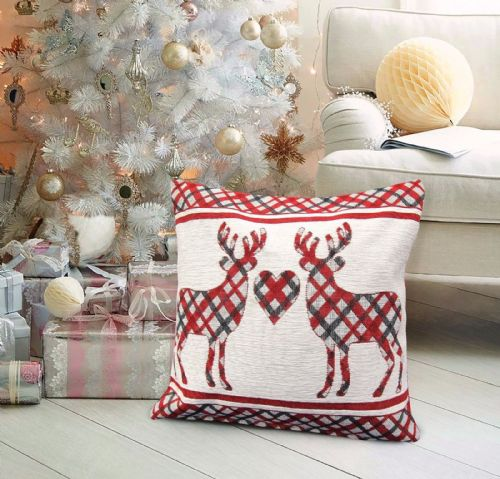 CHRISTMAS THEMED FESTIVE XMAS DESIGN CUSHION COVER STAG CHECK